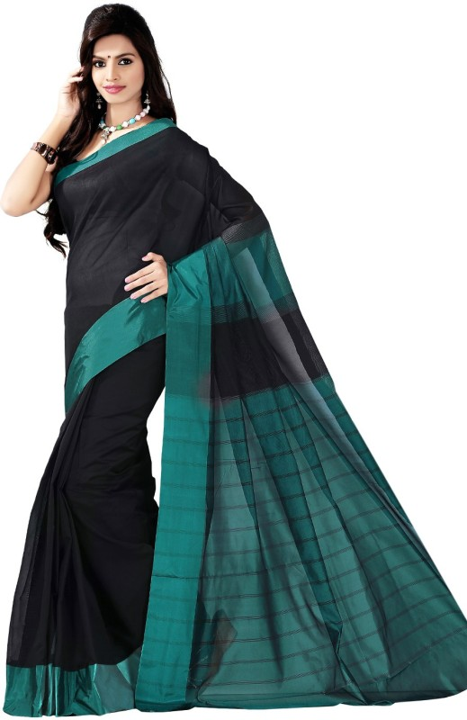 Vastrakala Self Design Fashion Dupion Silk Saree(Black, Green)