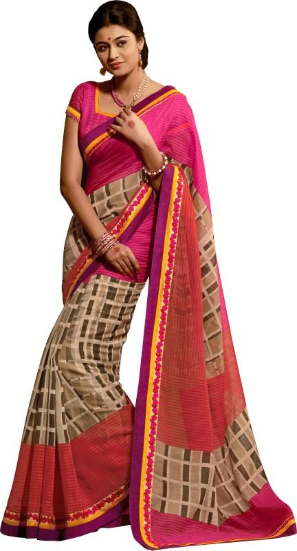 Khushali Self Design, Printed Fashion Art Silk Saree(Multicolor, Pink)