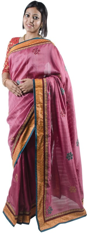 RB Sarees Embroidered Fashion Raw Silk Saree(Pink, Magenta, Purple, Multicolor)
