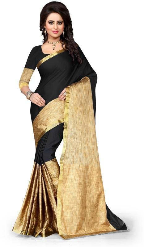 Style U Embellished Kanjivaram Handloom Art Silk, Polyester Saree(Black, Beige)