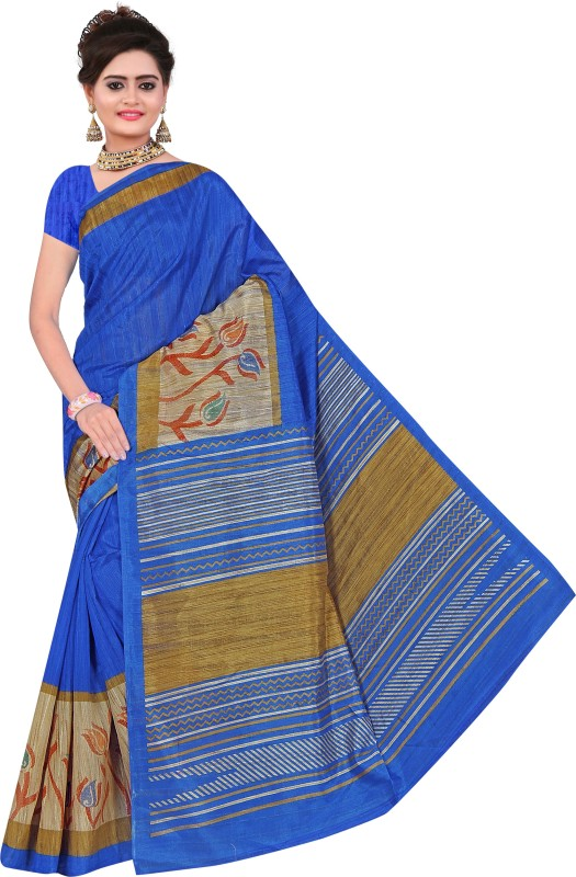 Winza Designer Printed, Self Design, Paisley, Geometric Print, Solid Daily Wear Cotton Blend Saree(Blue)