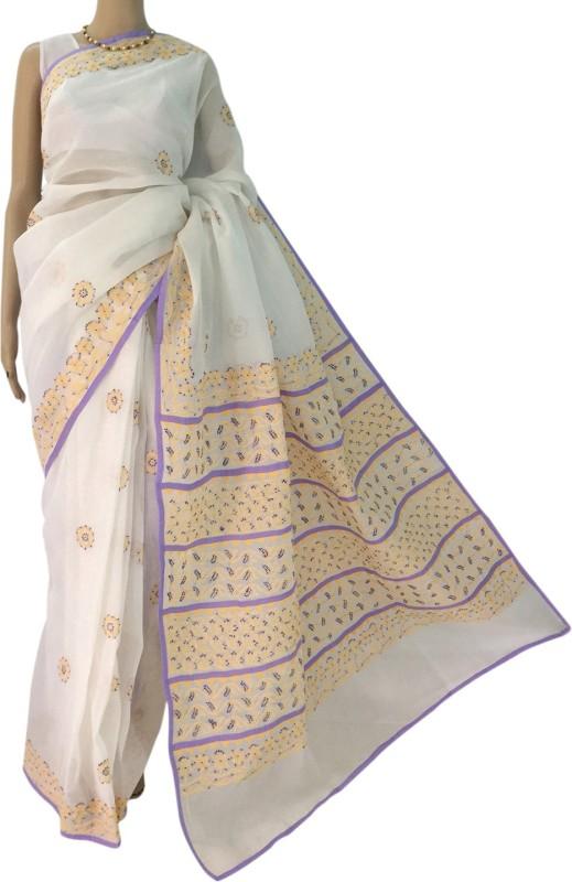 RZU Embroidered Lucknow Chikankari Handloom Cotton Saree(White)