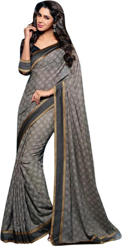 Vishal Checkered Fashion Art Silk Saree(Black)