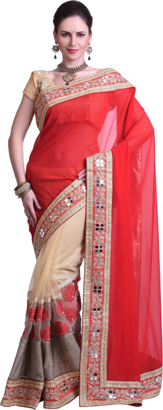 Chirag Sarees Embellished Fashion Synthetic Georgette Saree(Red)