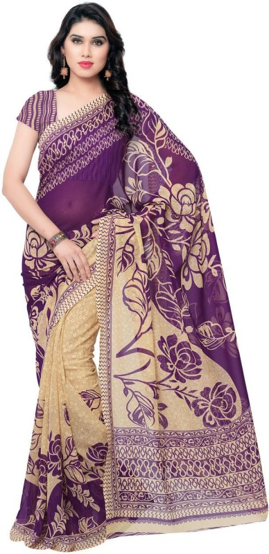 Anand Sarees Printed Daily Wear Georgette Saree(Purple)
