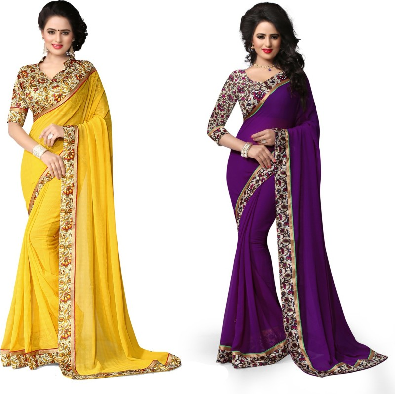 Indianbeauty Self Design, Solid, Printed Fashion Chiffon Saree(Pack of 2, Blue, Yellow)