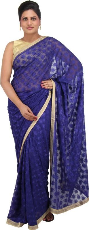 The Phulkari Self Design Phulkari Chiffon Saree(Blue)