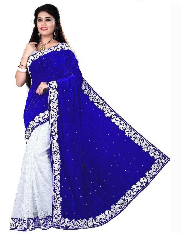 Dwit Style Printed Bollywood Velvet Saree(Blue)