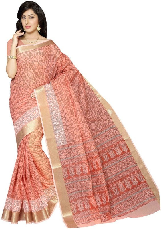 Rani Saahiba Printed Gadwal Cotton Saree(Orange)