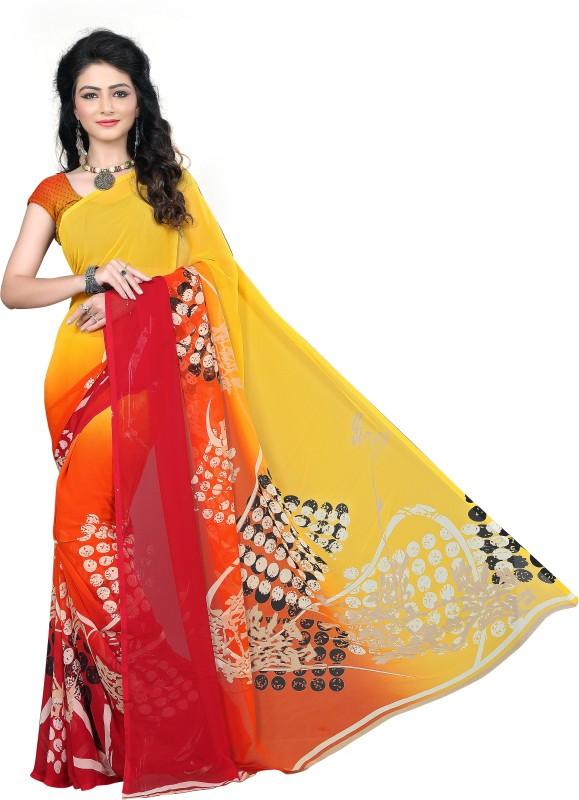 M.S.Retail Printed Fashion Chiffon Saree(Yellow)