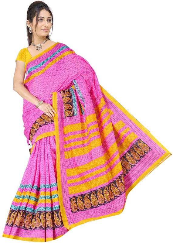Khushali Self Design, Printed Fashion Art Silk Saree(Pink, Multicolor)