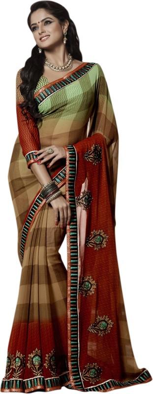 Khushali Self Design, Embroidered, Embellished Fashion Poly Georgette Saree(Multicolor, Red, Beige)
