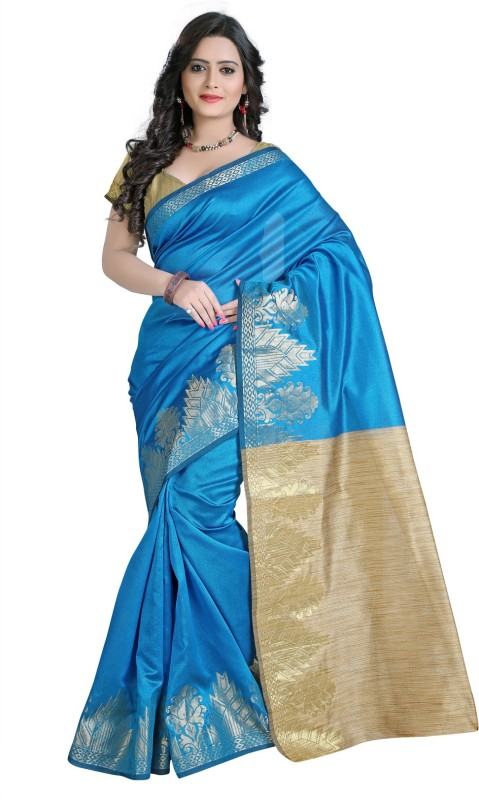 E-Vastram Woven Bollywood Dupion Silk Saree(Blue)