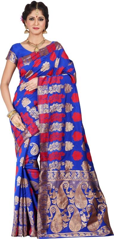 Shonaya Embellished Kanjivaram Art Silk Saree(Blue)
