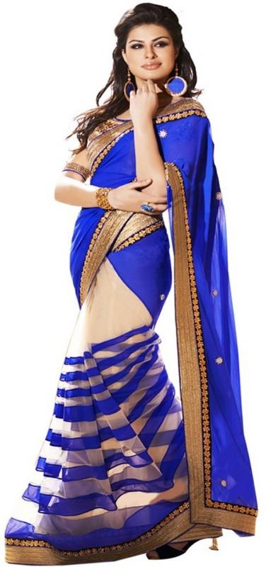 Bollywood Designer Solid Fashion Georgette Saree(Light Blue)