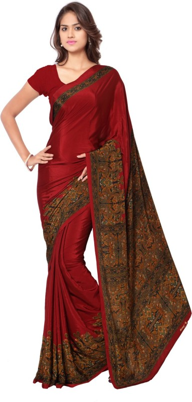 Ligalz Printed Daily Wear Crepe Saree(Maroon)