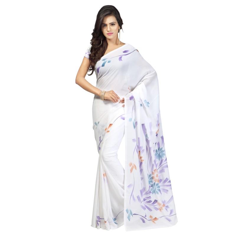 Goodfeel Hand Painted Fashion Chiffon Saree(White)