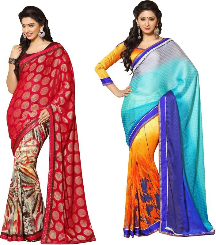 Indianbeauty Self Design, Printed Bollywood Georgette Saree(Pack of 2, Red, Light Blue)