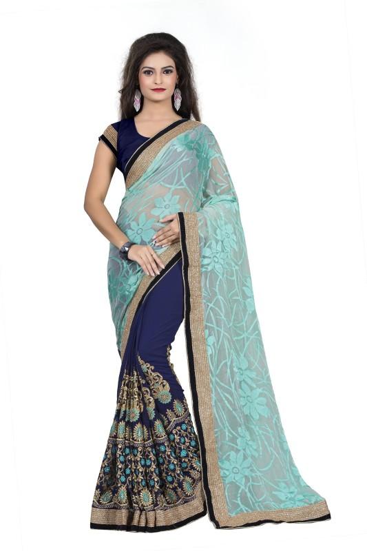 Aashvi Creation Embroidered, Self Design Fashion Georgette, Brasso Saree(Dark Blue)
