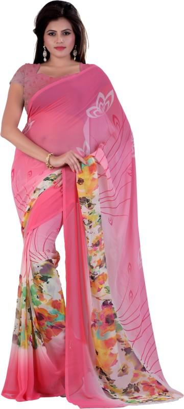 Khushali Self Design, Printed Fashion Georgette Saree(Pink, Multicolor)