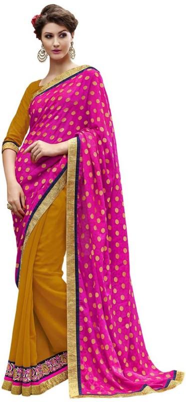Desi Butik Self Design Fashion Georgette Saree(Pink, Yellow)
