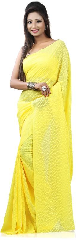 Khushali Self Design Fashion Georgette, Jacquard Saree(Yellow)