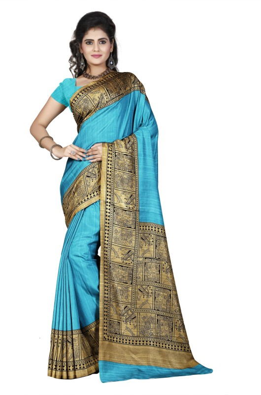 Khoobee Self Design, Printed Fashion Art Silk Saree(Blue, Beige)