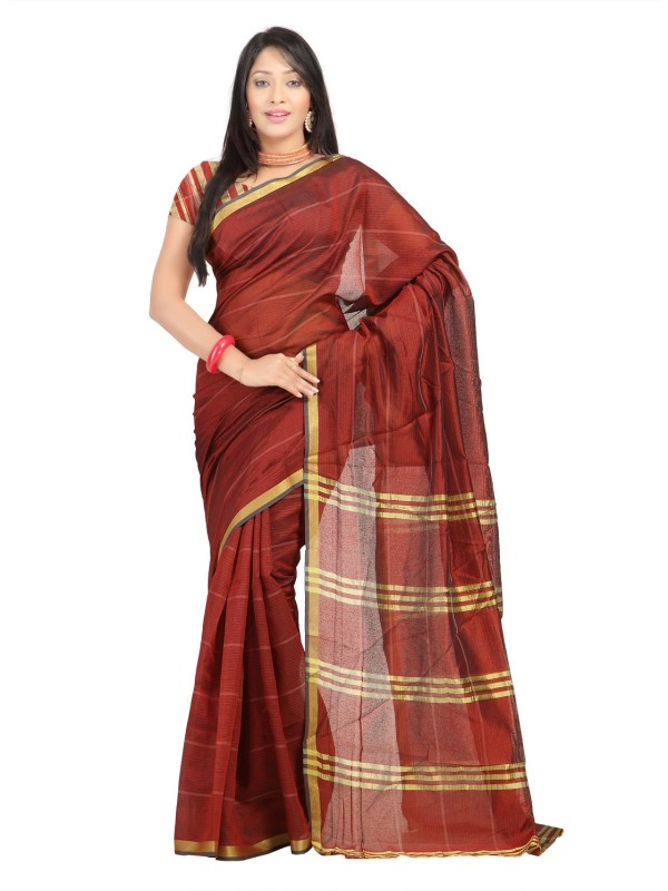 Suali Printed Fashion Tissue Saree(Maroon)
