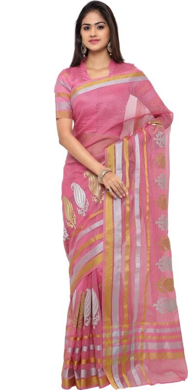 sarvagny clothing Embroidered Kota Doria Cotton Linen Blend, Kota Cotton Saree(Pink)
