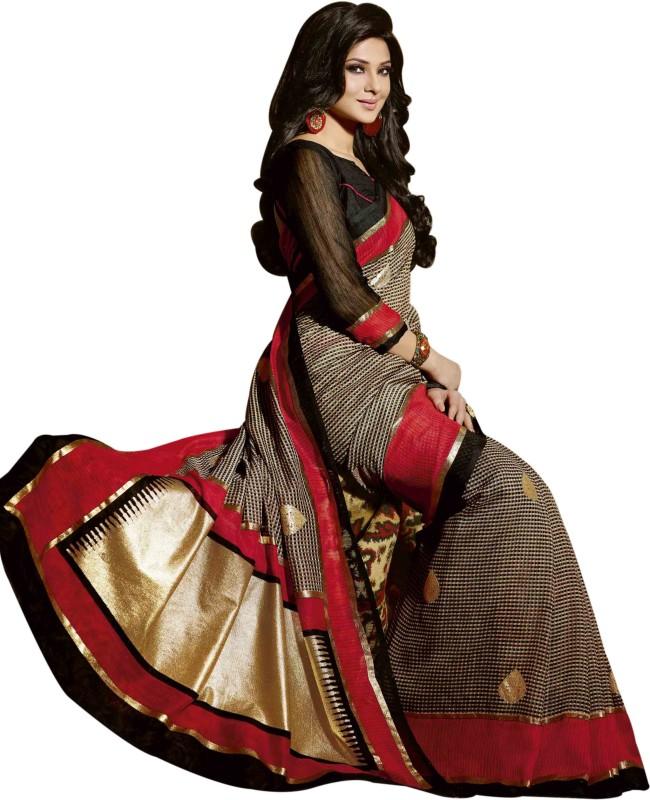 Bhavi Checkered Fashion Art Silk Saree(Multicolor)