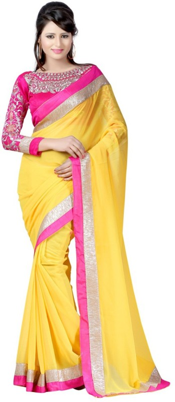 Winza Designer Embellished, Embroidered, Paisley, Printed, Self Design, Solid Bollywood Chiffon Saree(Yellow,...