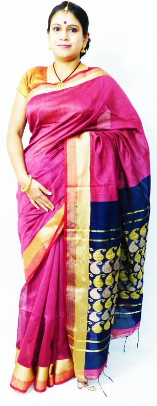 Runu's Boutique Woven Jamdani Handloom Muslin Saree(Pink, Dark Blue)
