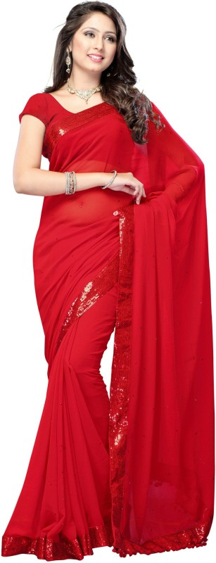 Tiana Creation Embroidered Bollywood Georgette Saree(Red)