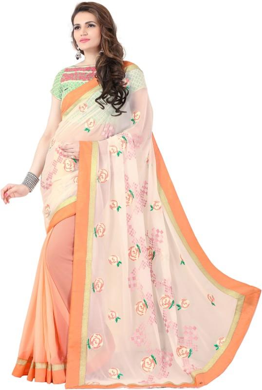 onlinefayda Self Design Bollywood Georgette Saree(Orange)