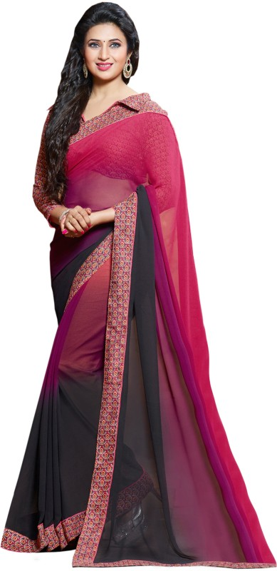 Khoobee Self Design Fashion Poly Georgette Saree(Multicolor, Purple, Black, Pink)