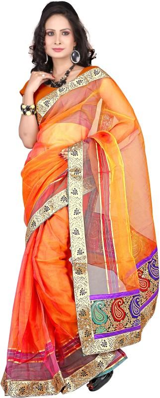 Suali Self Design Fashion Tissue Saree(Orange)