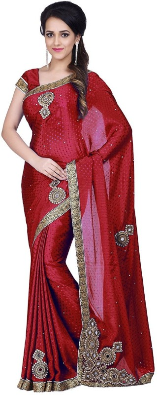 Pragati Fashion Hab Embroidered Fashion Satin Saree(Maroon)