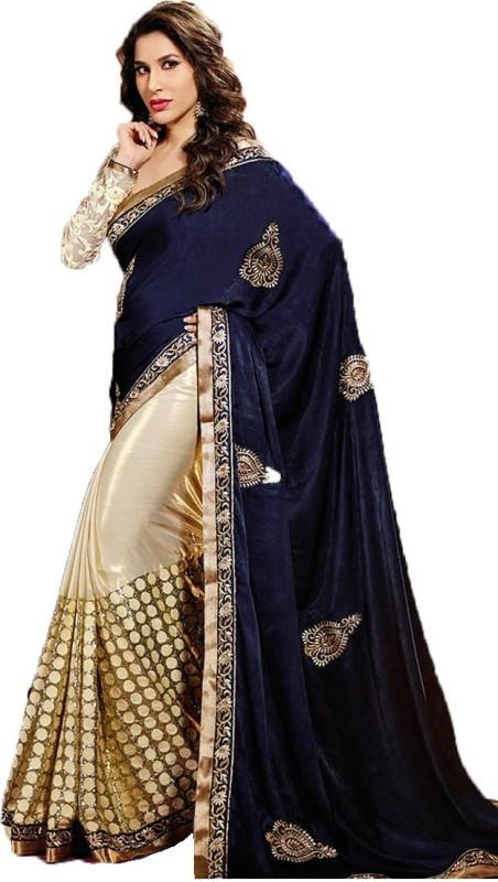 Shoppershopee Embroidered Fashion Velvet Saree(Blue)
