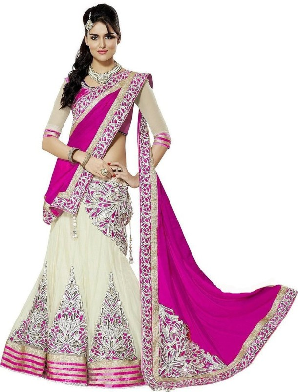 MF Retail Embroidered Bollywood Net Saree(White, Pink)