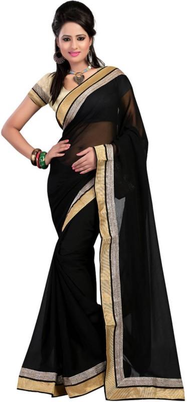 Krishna Emporia Solid Fashion Georgette Saree(Black)