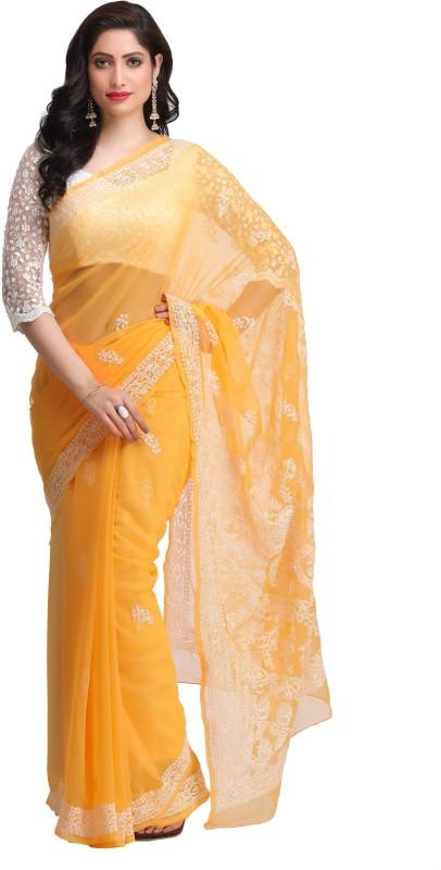 Ada Embroidered Lucknow Chikankari Handloom Georgette Saree(Yellow)