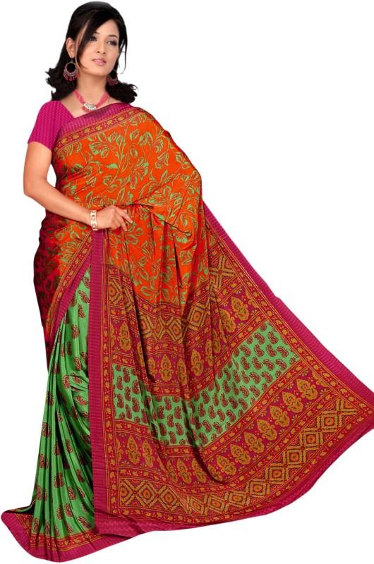 Khoobee Self Design, Printed Fashion Silk, Crepe Saree(Multicolor, Green, Purple, Pink)