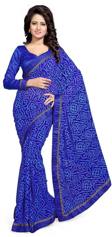 Mirchi Fashion Printed Bandhani Georgette Saree(Blue)