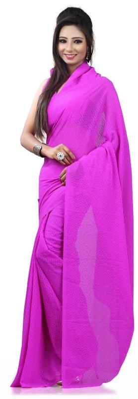 Khushali Self Design Fashion Georgette, Jacquard Saree(Purple)