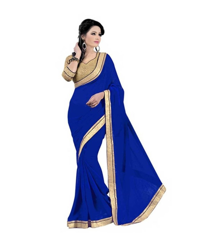 Bollywood Designer Self Design Bollywood Georgette Saree(Blue)