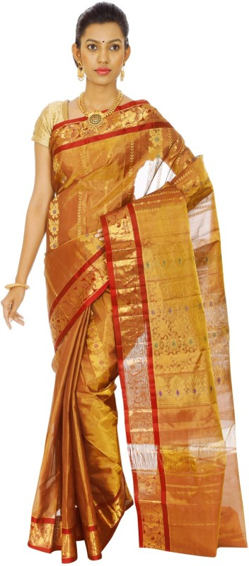 Mahaveersilkcreations Woven Kanjivaram Handloom Tissue Saree(Maroon)