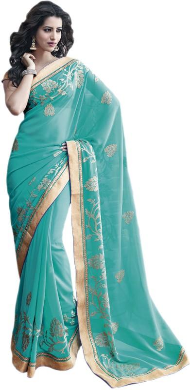 Vishal Printed Fashion Poly Georgette Saree(Light Blue)