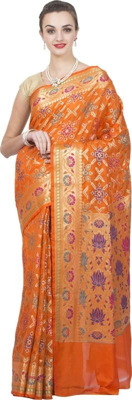 Craftghar Floral Print Banarasi Tissue Saree(Orange)
