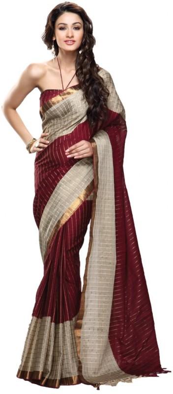 Urban Vastra Striped Fashion Cotton Saree(Maroon)