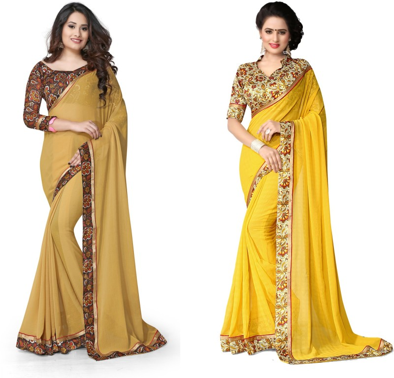 Indianbeauty Plain, Printed Bollywood Chiffon Saree(Pack of 2, Yellow, Beige)